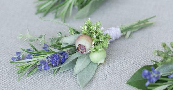 DIY Herbal Boutonniere by oncewed Boutonniere oncewed