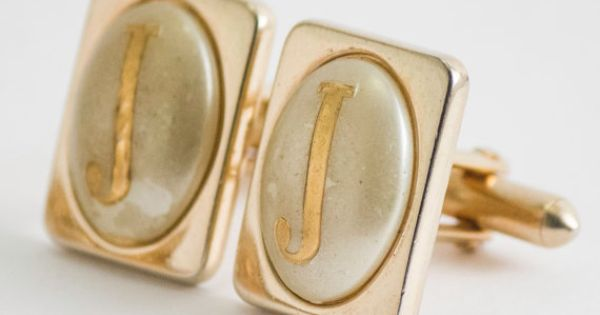 Vintage Cufflinks Letter J Cuff Links Gold Toned by CuffsandClips