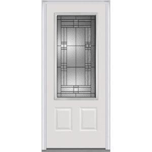 Mmi Door 32 In X 80 In Brighton Left Hand Inswing 3 4 Lite Decorative 2 Panel Primed Steel Prehung Front Door Z021441l The Home Depot Steel Doors Exterior Mmi Door Front Door
