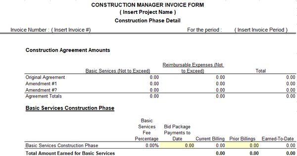 construction management invoice Excel Templates Pinterest - invoice construction