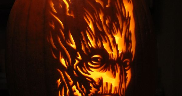 """My """"I am Groot"""", pumpkin that I carved. Guardians of the Galaxy. 