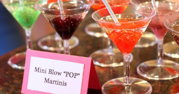 """She's Ready to Pop"" Baby Shower... little martini glasses and filled them"
