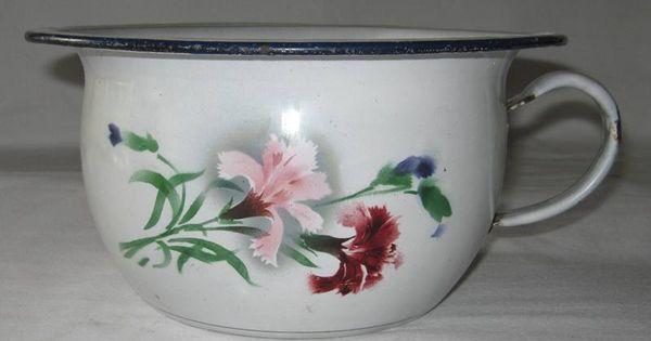 Pot de chambre ancien vase de nuit ancien en t le maill e for Chambre de nuit