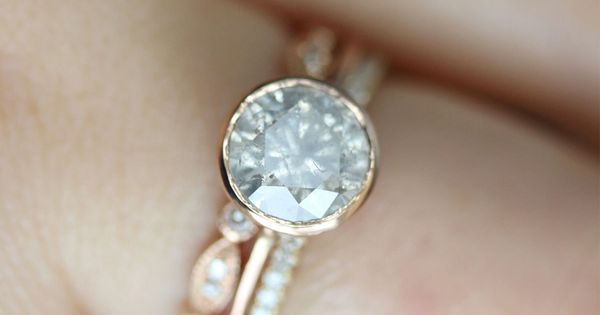 White - Gray Diamond in 14K Rose Gold Ring - Ready to