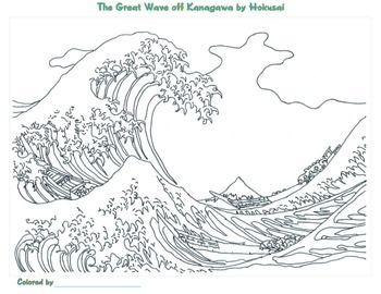Katsushika Hokusai Coloring Pages In 2020 Famous Art Wave Art