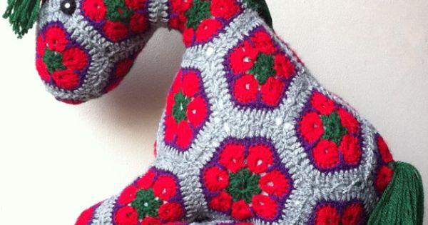 African Flower Pony Crochet Pattern : African Flower Pony Crochet Pony Plush Toy by BlackFishes ...
