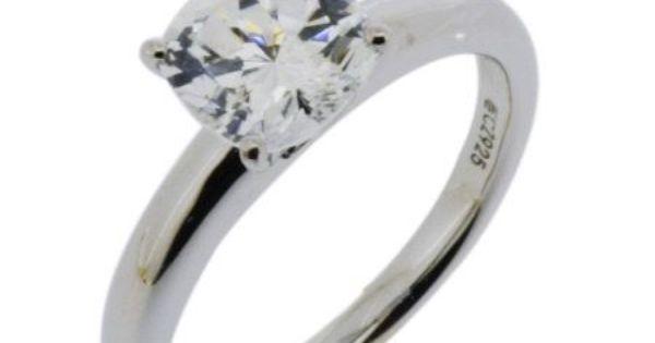 Diamonique Cushion 100 Facet Solitaire Ring Platinum Clad Qvc Com Rings Engagement Rings Diamond Solitaire Rings