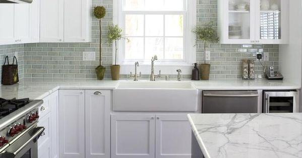Traditional Kitchen White Cabinets Marble Countertops Light