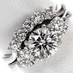 Contour Trellis Matching Band Wedding Rings Engagement Three Stone Engagement Rings Round Engagement Rings