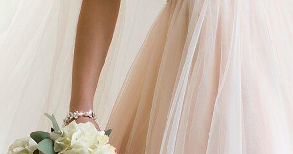 Pretty blush wedding dress.