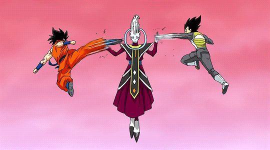 Photo Goku And Vegeta Vs Whis Visit To Grab An Unforgettable Cool 3d Super Hero T Shirt Animasi Kartun