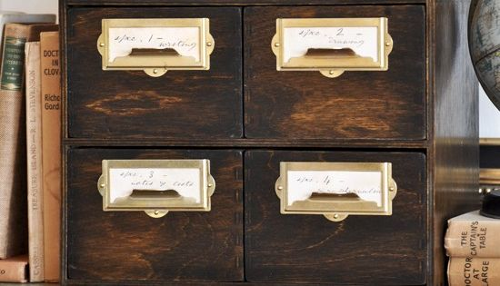 Ikea hack of a Vintage Library Card Catalog Cabinet