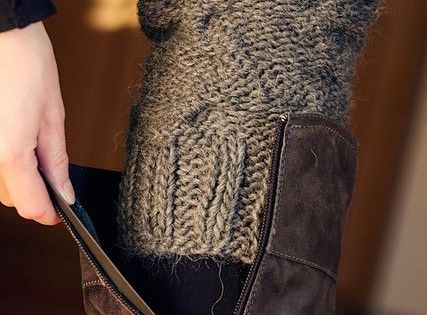 sweater sleeve used to show above boots instead of bulky socks