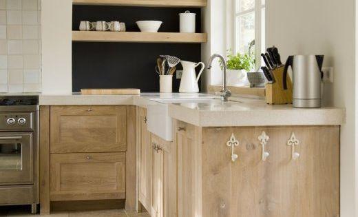 Weathered Pickled Oak Kitchen Cabinets