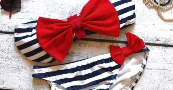Sailor's Girl Navy Striped Red Bow Bandeau Bikini... cute bathing suit!