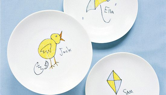 Keepsake Dishes Turn children's drawings into decorative plates. Scan the art and