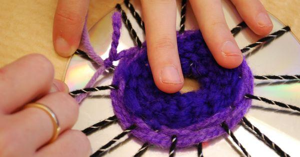 CD weaving yarn & CD craft - coasters, wall decor, wind toys