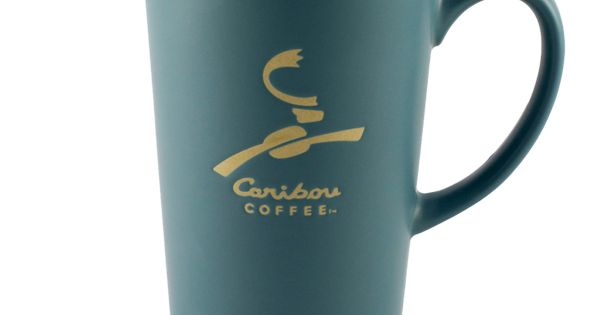 Blue Ceramic Latte Tumbler With Lid And Caribou Coffee
