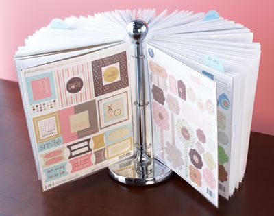 Paper towel holder + binder rings + page covers = a great