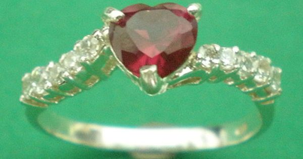 Ruby Red CZ Heart Silver Ring Band Size US 3 14 by