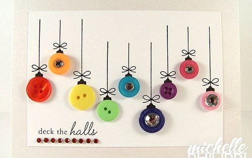 Ornament button card christmascard paper craft