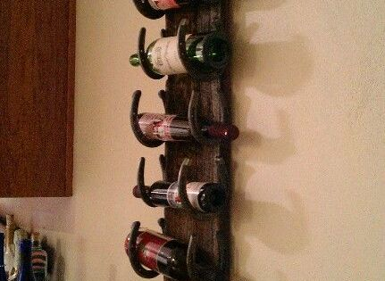 Wine Rack Old Barn Wood And Horse Shoes Ideas Para El