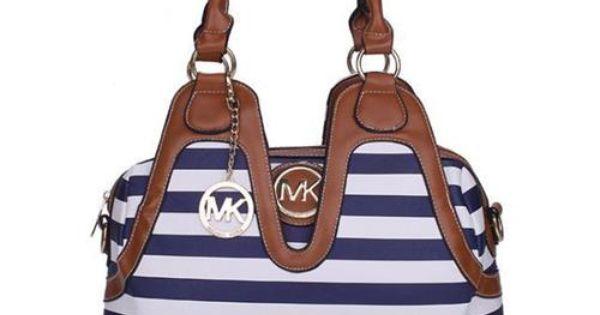 Cheap Michael Kors Striped Logo Stud Medium Blue Satchels Clearance