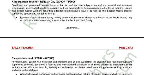 Sample Teaching Resumes For Preschool