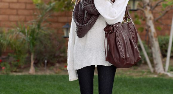 big sweaters, leggings, infinity scarf, and combat boots = perfect fall outfit