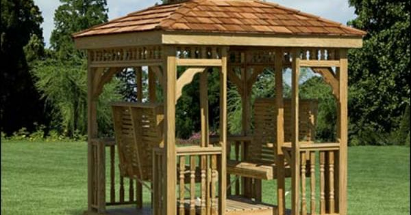 Treated pine hip roof gazebo swing shown with optional for Garden room 2x3