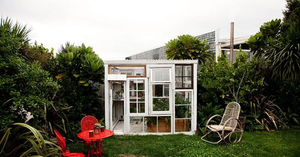 Green House in Auckalnd New Zealand, made out of old windows and