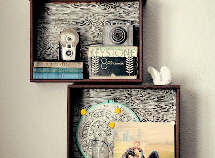 DIY drawer shelves// find old drawers at thrift store// neat idea
