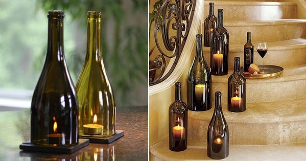 Velas decoraci n con botellas de vino botellas vidrio - Botellas con velas ...