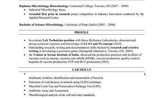 Click Here To Download This Lab Technician Resume Template