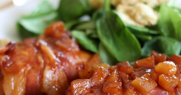 Slow Cooker Bacon Wrapped Apple Chicken. Substitute Turkey bacon ...