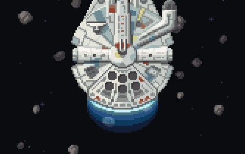 Star Wars Millenium Falcon In Asteroid Field Pixel