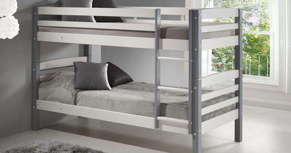 Lits superpos s 90 x 200 cm harry 5 coloris blanc gris prix promo lit enfant - Lit superpose conforama ...