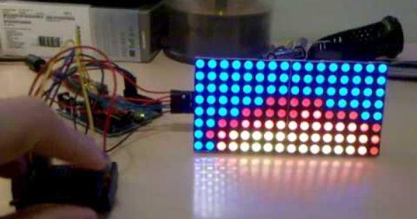 Two rgb led matrix fire effect tinkering light