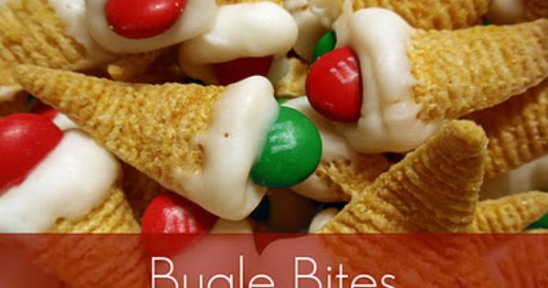 bugle bites - A cute idea for Christmans snacking. Think Valentine's -