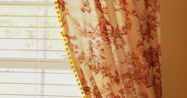 Red Toile Curtains With Yellow Pom Pom Fringe Toile