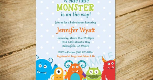 Little Monster Baby Shower Invitation / by PocketfulOStationary, $10.00