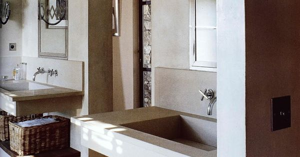 Floating sinks above open storage shelves; Cote Sud via Sarah Klassen