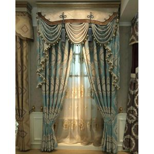 Blue Damask Embroidery Chenille Thermal Vintage Curtains For Bedroom Or Living Room Without Valance Vintage Curtains Luxurious Bedrooms Curtains Living Room