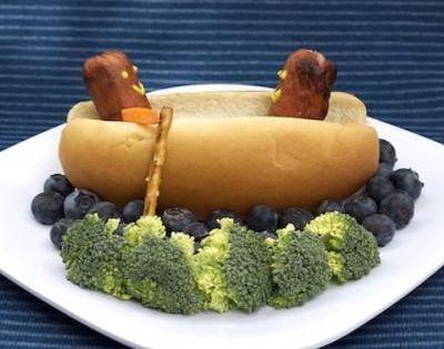 Hot Dog!!!! Bun, Hot Dog, Pretzel, Mustard, Carrot arm!!! Blueberry Water and