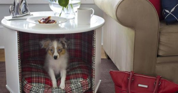 DIY dog house end table idea.