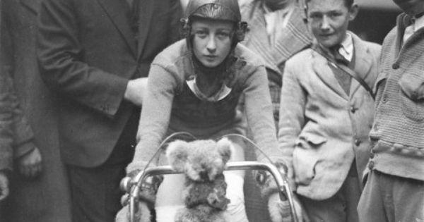 Close-up of Billie Samuels on the Malvern Star bike showing her koala