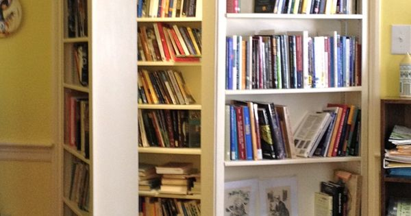 Turn a closet into a bookcase and then make the door into
