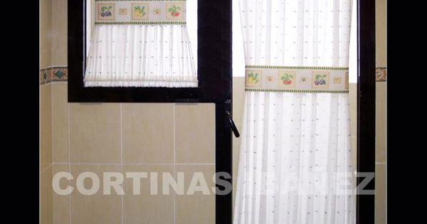 Cortina De Cocina En Visillo Bordado Instalada Y