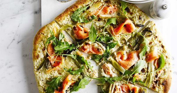 Pizza bianca with smoked salmon and spring onions - We have taken ...
