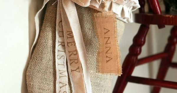 Burlap stocking. Not sure I could make this with my hot glue